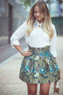 White-goodnight-macaroon-blouse-turquoise-blue-oasap-skirt