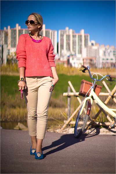 red Forever 21 sweater - bubble gum balenciaga bag - brown Celine sunglasses