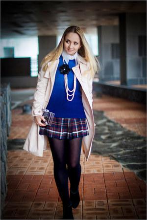 neutral Miss Nabi coat - blue Sheinside sweater - white Zara bag