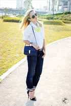 yellow Forever21 necklace - navy Levis jeans - navy Miss Nabi bag