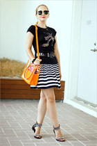orange Miss Nabi bag - black ray-ban sunglasses - white Forever 21 skirt