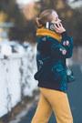 Teal-romwe-jacket-mustard-choies-scarf-mustard-versace-pants