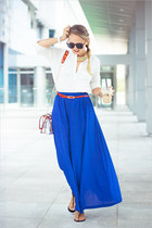 blue Forever 21 skirt - hot pink Choies bag - black zeroUV sunglasses