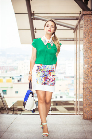 green Sheinsidecom blouse - blue WOAKAO bag - aquamarine Udobuy sandals