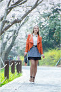 Light-orange-sheinside-jacket-charcoal-gray-sammydress-skirt