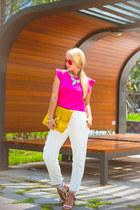 gold Michael Kors watch - red zeroUV sunglasses - white Choies pants