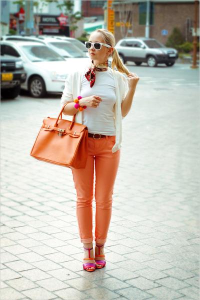 orange Forever 21 jeans - red Milantro scarf - orange Miss Nabi bag