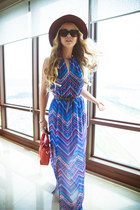dark brown similar JCrew hat - sky blue similar Forever 21 dress - red OASAP bag