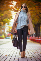 neutral Choies coat - silver OASAP sweater - black OASAP bag