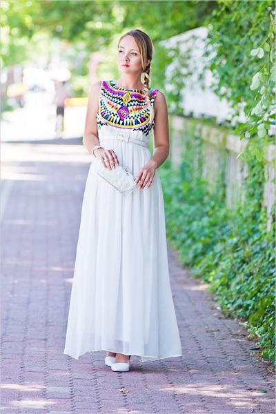 white Sheinsidecom dress - white Zara bag - white Zara heels