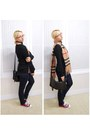Navy-calvin-klein-jeans-black-mango-sweater-tan-burberry-scarf