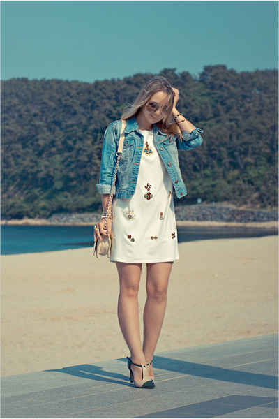 off white romwe bag - white Chicwish dress - sky blue Forever 21 jacket