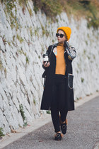 black StyledMoscow coat - gold Gvozdishe Knitting hat - black romwe loafers