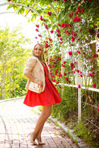 eggshell Anne Klein blazer - red Wal G dress - eggshell Joes Jeans heels