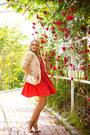 Red-wal-g-dress-eggshell-anne-klein-blazer-eggshell-joes-jeans-heels