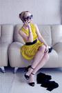 Black-prada-sunglasses-yellow-asos-dress-black-zara-heels-cream-asos-ring