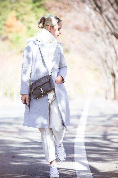 silver OASAP coat - silver Rebecca Minkoff bag - white Converse sneakers