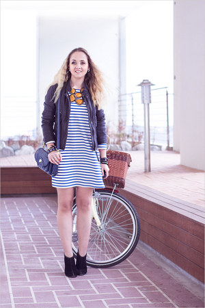 orange Boracay necklace - navy nowIStyle dress - black Armani Exchange jacket