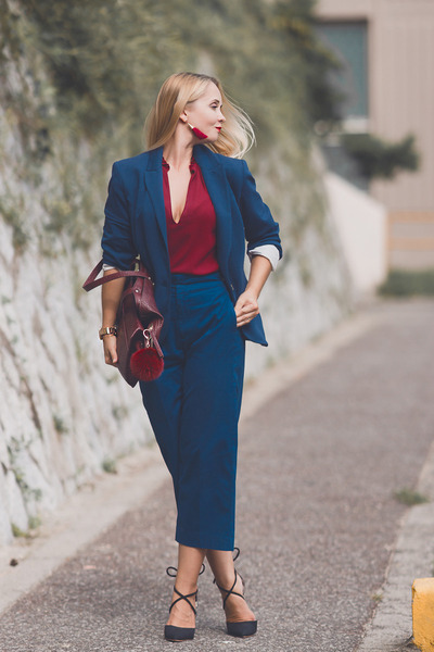black Choies heels - ruby red Cara earrings - blue Forever 21 pants