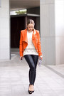 Carrot-orange-sheinside-jacket-off-white-sheinside-sweater-white-zara-bag
