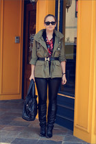 Topshop jacket - Forever 21 leggings - Miss Nabi bag - Ray Ban sunglasses