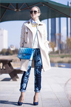 neutral Miss Nabi coat - navy DIY jeans - crimson Celine sunglasses