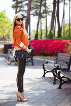 black Rebecca Minkoff bag - carrot orange Michael Kors jacket