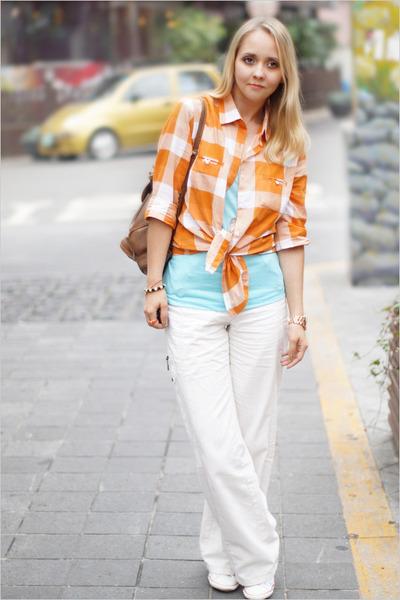 orange Forever 21 shirt - white Converse sneakers - sky blue Forever 21 t-shirt