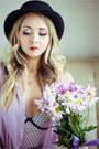 Periwinkle-stylish-plus-blouse-navy-levis-jeans-black-river-island-hat