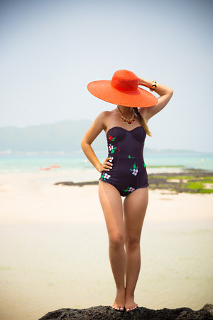 black Motel Rocks swimwear - red reserved hat - red PERSUNMALL necklace