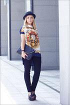 blue Miss Nabi blouse - black Miss Nabi hat - black OASAP bag