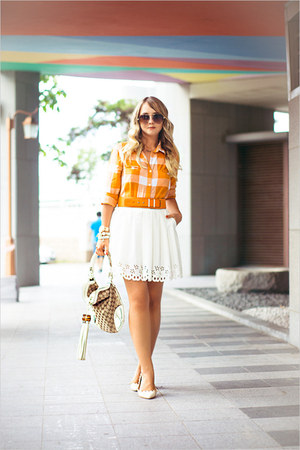 white Chicwish skirt - off white Gucci bag - brown Celine sunglasses