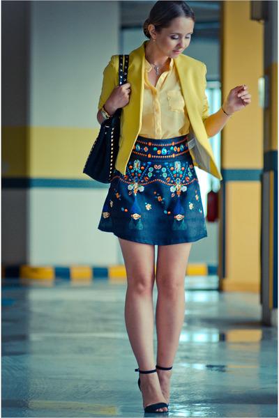 navy BangGood skirt - yellow vivilli blazer - black Chicwish bag
