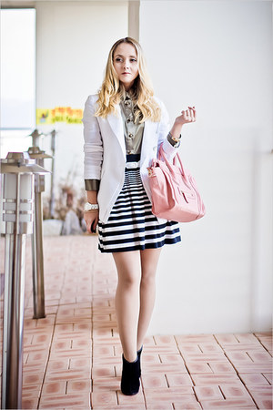 white Forever 21 skirt - bubble gum OASAP bag - olive green tailor4less blouse