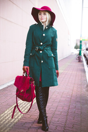 teal OASAP coat - black Kate-Katy boots - maroon Choies hat