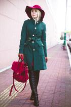 teal OASAP coat - black Kate-Katy boots - maroon Choies hat