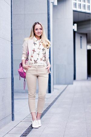 white Miss Nabi flats - ivory Forever 21 blazer - bubble gum balenciaga bag