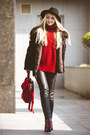 Ruby-red-choies-boots-black-choies-hat-dark-brown-similar-handmade-jacket