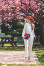 Carrot-orange-choies-hat-white-romwe-vest