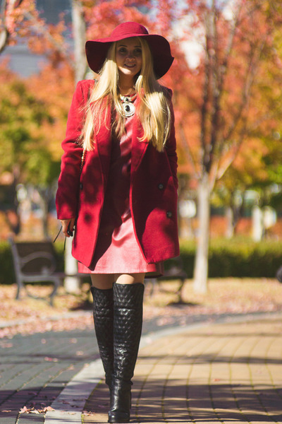 ruby red leather younghungryfree dress - black Kate-Katy boots