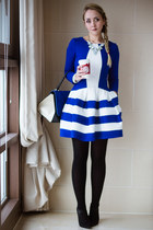 blue Chicwish dress - black asos boots - white Chicwish necklace