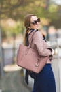 Light-pink-choies-jacket-light-pink-michael-kors-bag-brown-zerouv-sunglasses