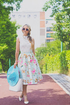 light blue Chicwish skirt - white GoodNight Macaroon dress