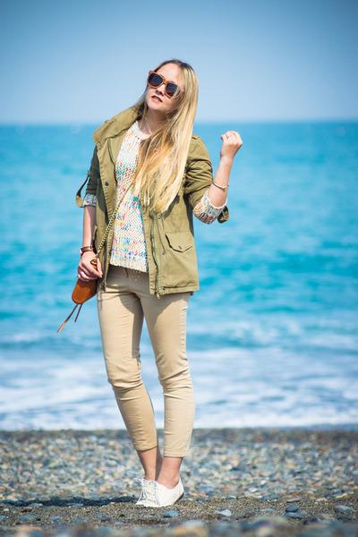 tawny Rebecca Minkoff bag - olive green Topshop jacket - ivory Chicwish sweater