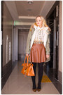 Carrot-orange-romwe-bag-white-romwe-blouse-tawny-miss-nabi-skirt