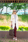 White-old-navy-sweater-cream-sheinside-shirt-dark-brown-louis-vuitton-bag