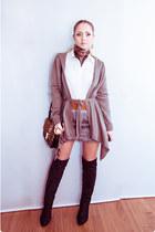 brown Miss Nabi bag - heather gray Miss Nabi skirt