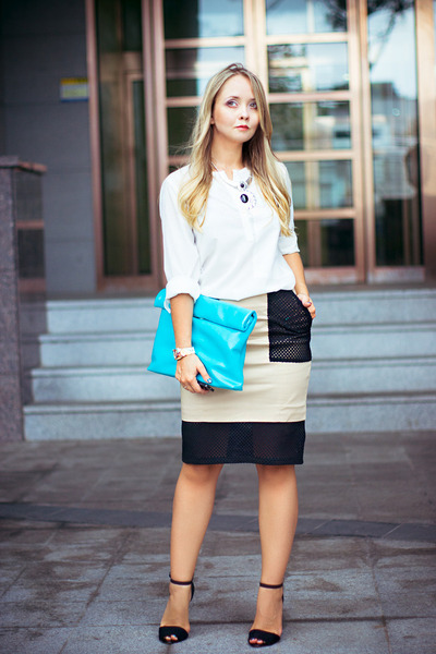 eggshell front row skirt - turquoise blue Count the sheep bag
