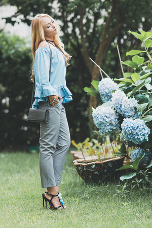 sky blue zaful top - silver asos pants