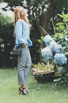 sky blue zaful top - silver asos pants